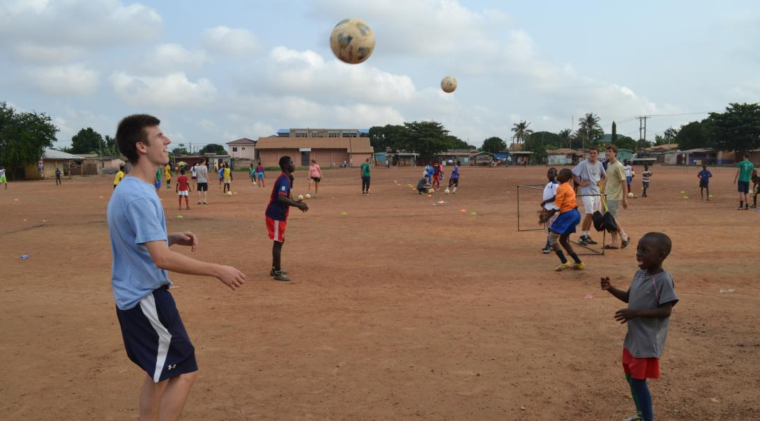 Volunteer as a soccer coach in Ghana and teach a youth team various footwork, passing, and ball control techniques.